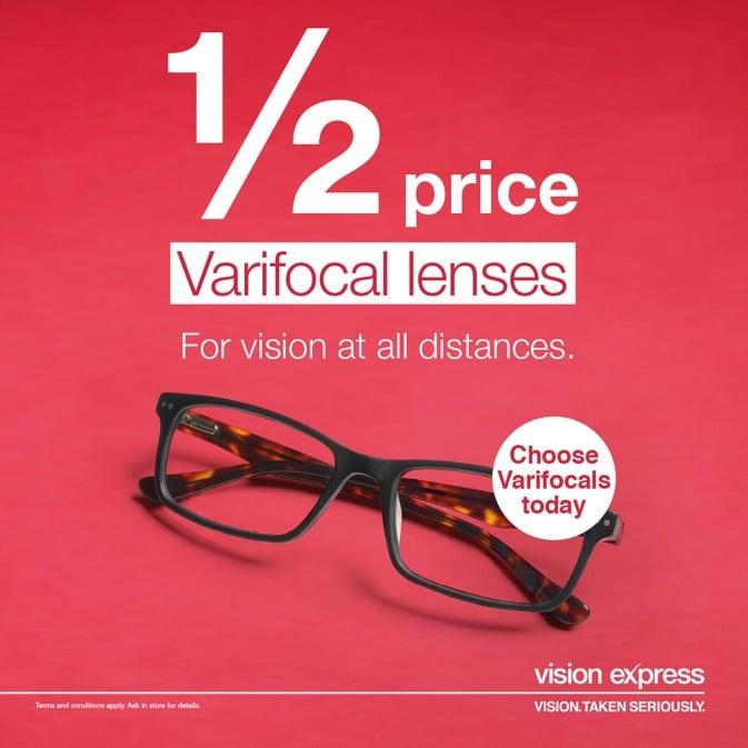 1/2 price Varifocal lenses at Vision Express