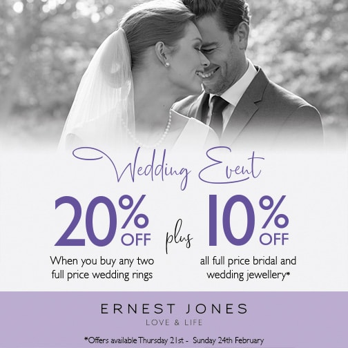 20% off when you buy any two full price wedding rings at Ernest Jones