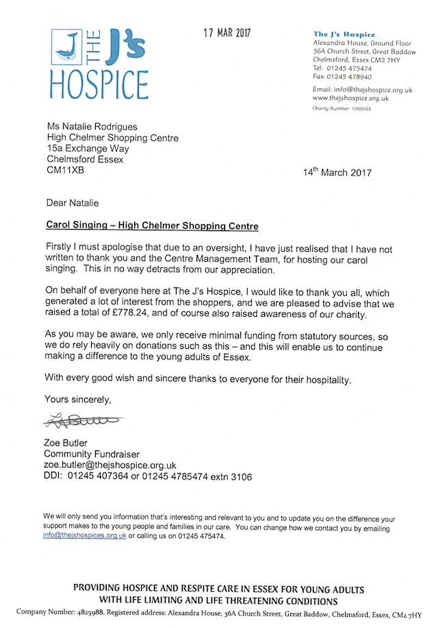 The J's Hospice carol singing Thank you letter